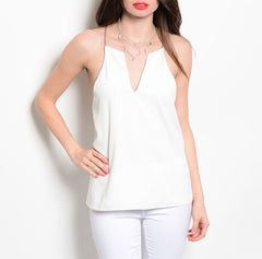 Chain Back Accent Top in Ivory