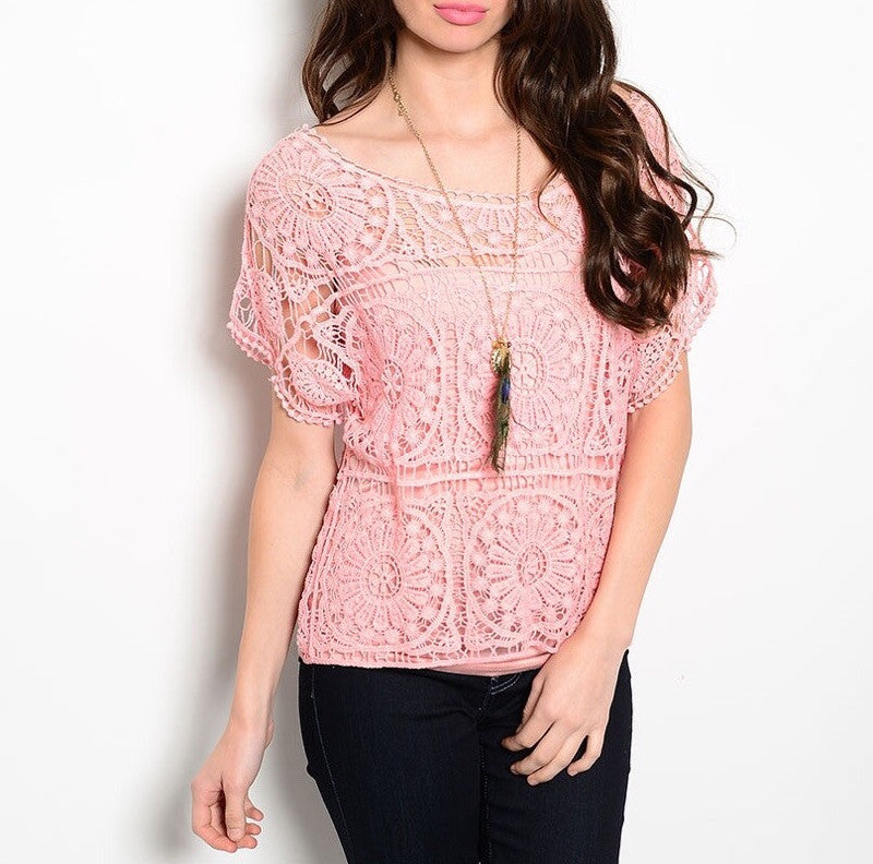 Crochet Overlay Blouse in Pink