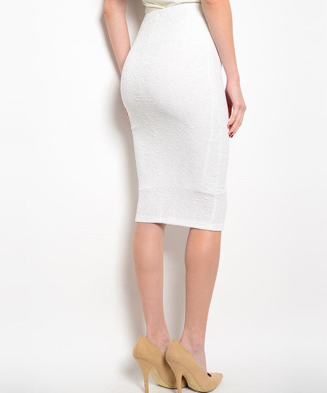 Glitter & Raised Texture Below Knee Length Pencil Skirt in Ivory