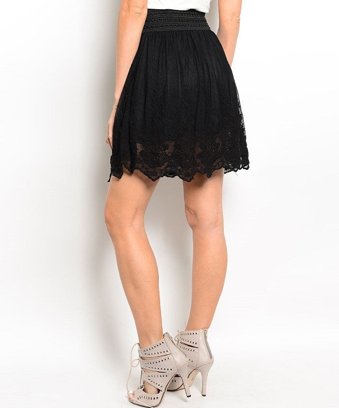 Scalloped Lace Hem High Waist Flared Skirt in Black
