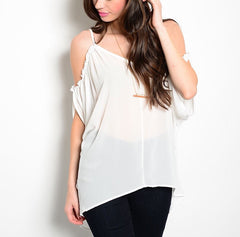 Cold Shoulder Long Sheer Chiffon Top in Ivory