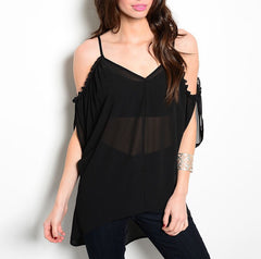 Cold Shoulder Long Sheer Chiffon Top in Black