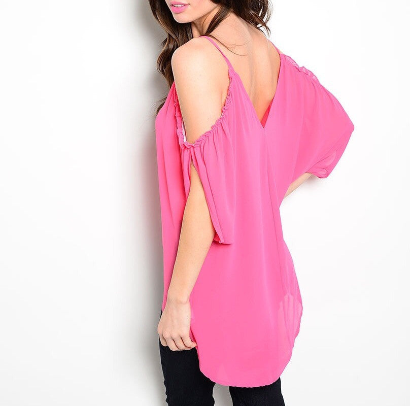 Cold Shoulder Long Sheer Chiffon Top in Pink