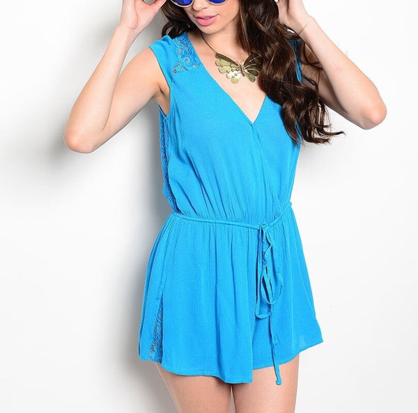 Laced Back Cinched Waist Sleeveless Romper in Blue