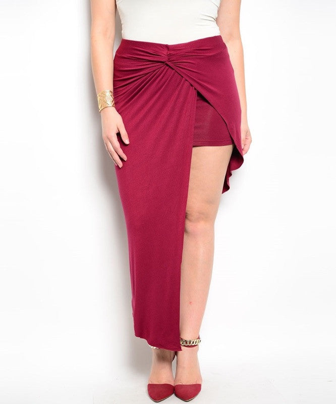 Plus Size Asymmetric Hem Wrap Skirt in Maroon