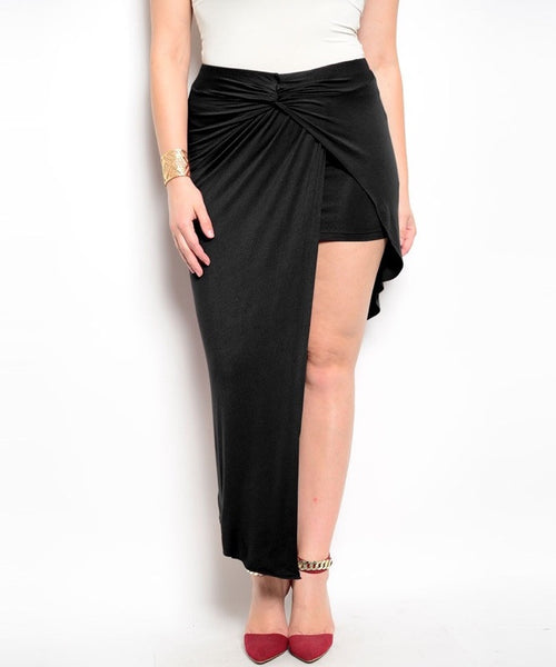 Plus Size Asymmetric Hem Wrap Skirt in Black