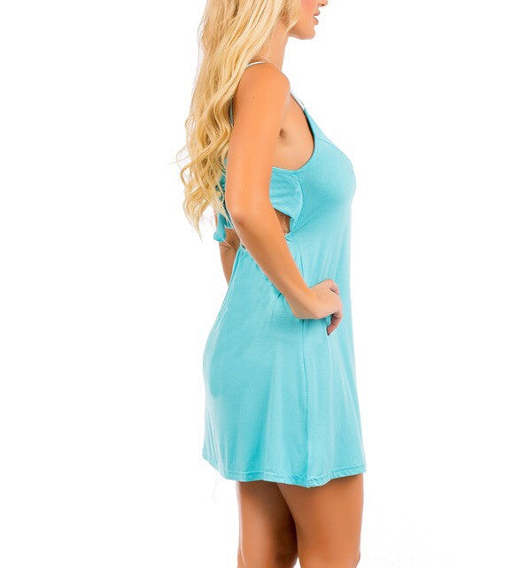 Cut Out Back A-Line Casual Dress in Light Blue