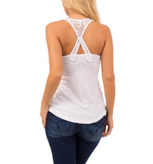 Lace Strap Basic Tank Top in White