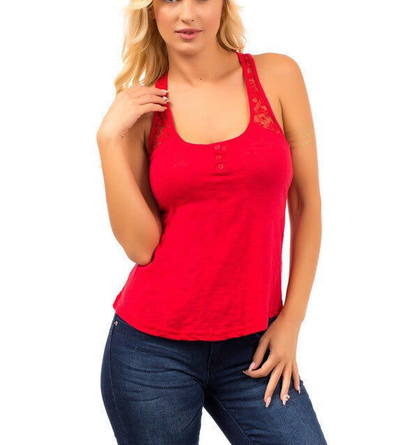 Lace Strap Basic Tank Top in Red