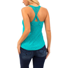 Lace Strap Basic Tank Top in Teal