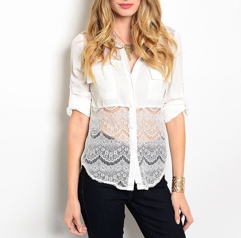 Sheer Lace Waist Button Down Blouse in White