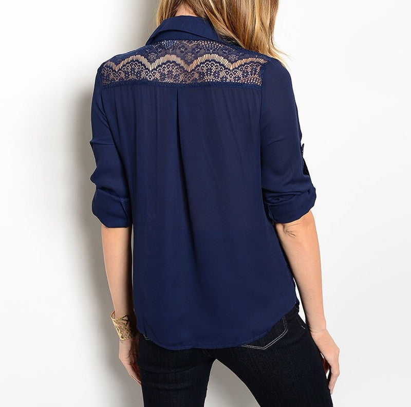 Sheer Lace Waist Button Down Blouse in Navy Blue