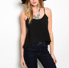 Open Chain Back Top in Black