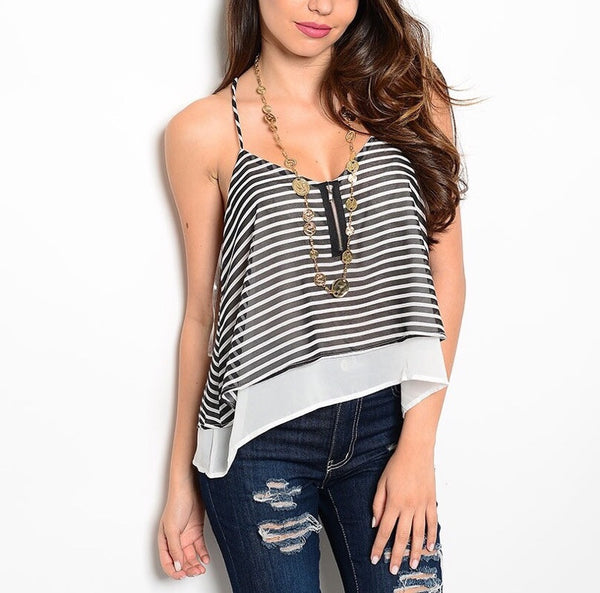 Layered Striped Chiffon Top in Neon Black and White
