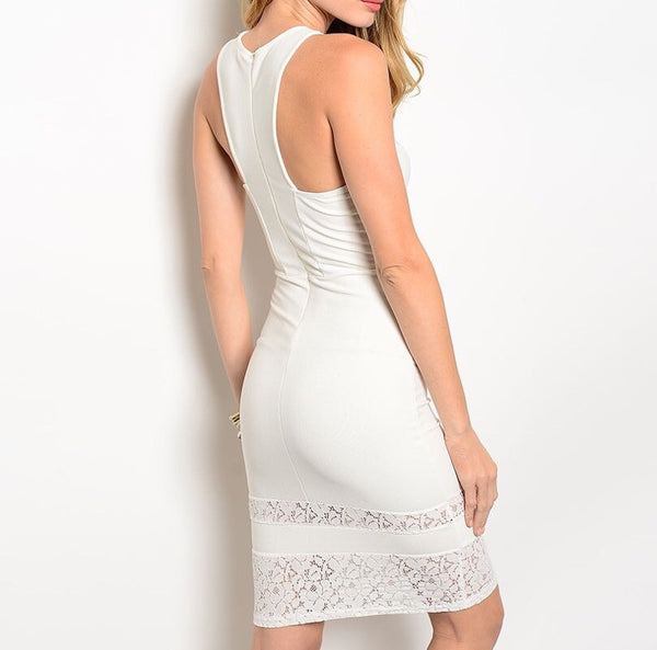 Cross Over Key Hole Midi Dress in Ivory
