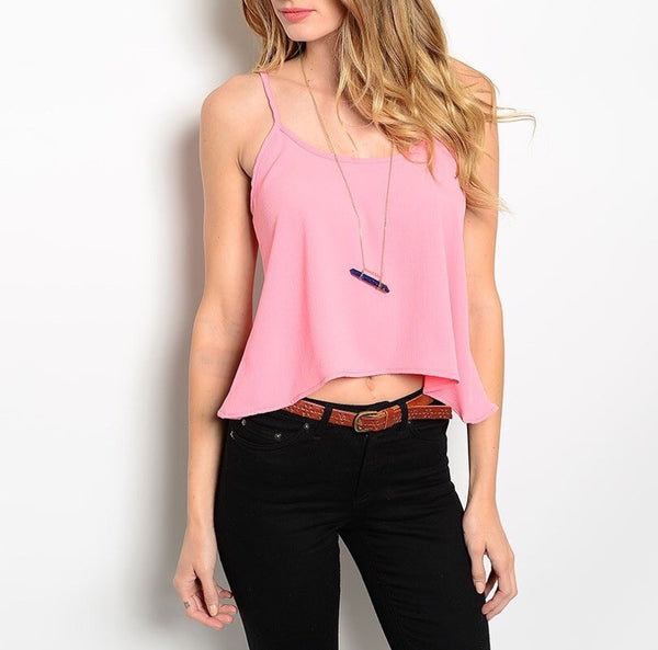 Open Chain Back Top in Pink