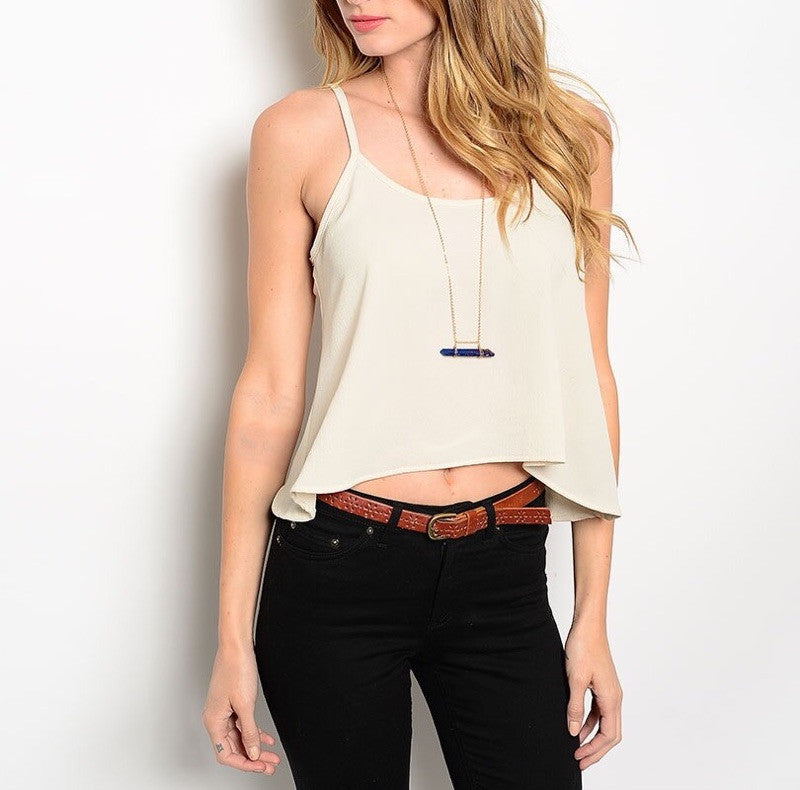 Open Chain Back Top in Cream