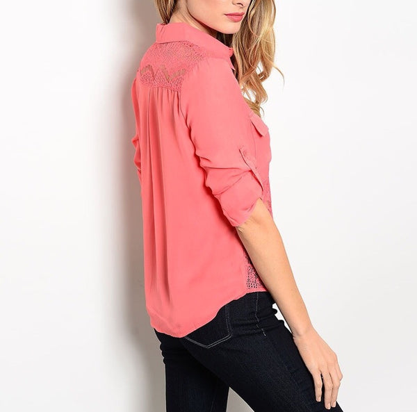 Sheer Lace Waist Button Down Blouse in Coral