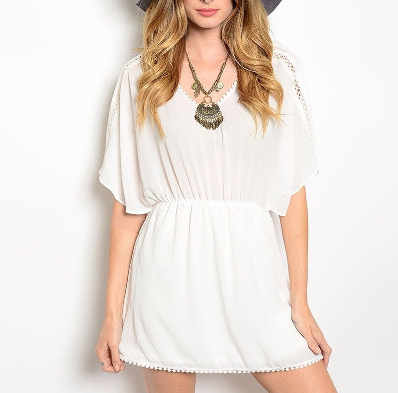 Boho Sheer Chiffon Blouson Dress in Ivory