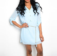 Shirt Dress with Chain Belt in Light Blue