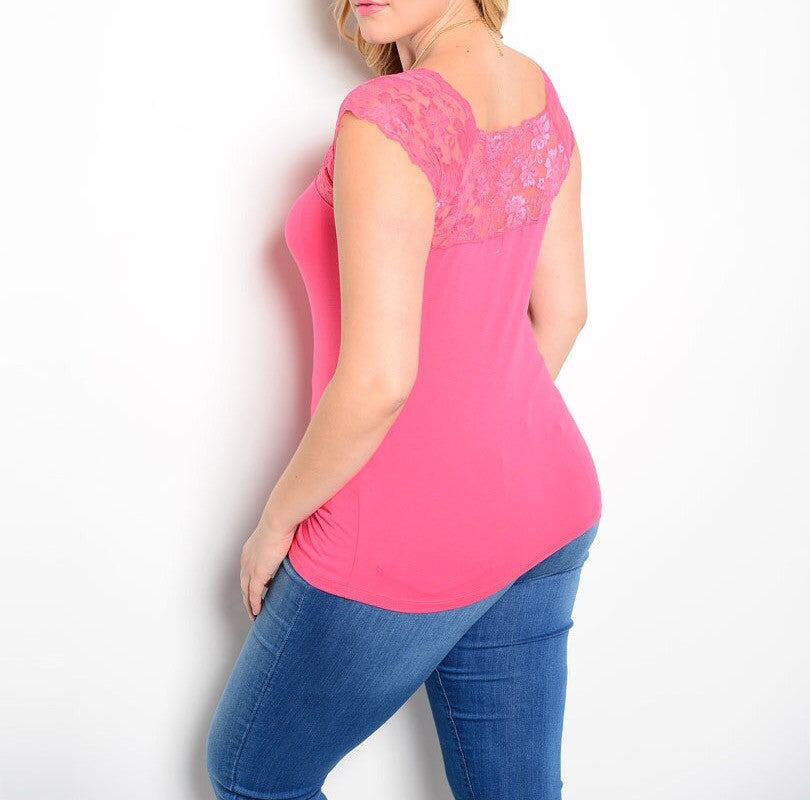 Plus Size Lace Shoulder Form Fitting Top in Pink