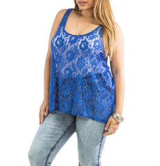 Plus Size Sheer Front Lace & Solid Back Tank Top in Blue