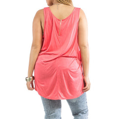 Plus Size Sheer Front Lace & Solid Back Tank Top in Coral