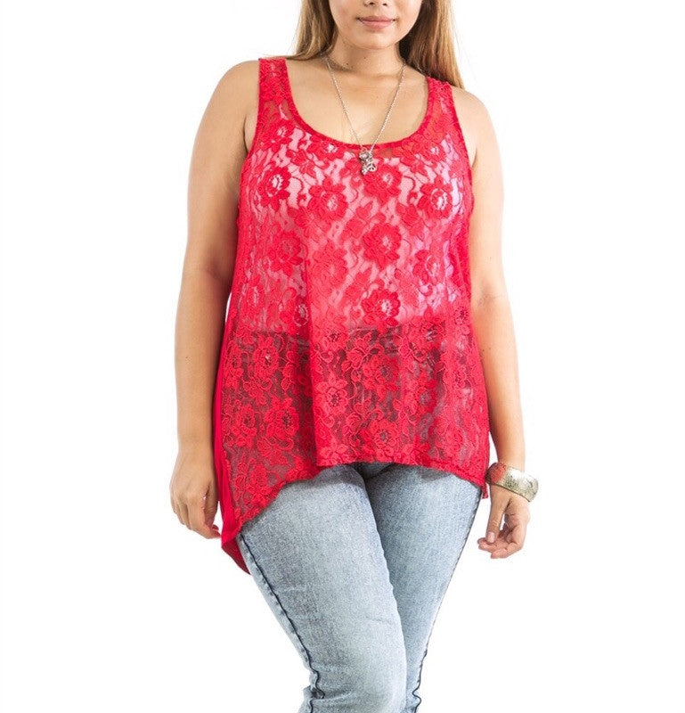 Plus Size Sheer Front Lace & Solid Back Tank Top in Red