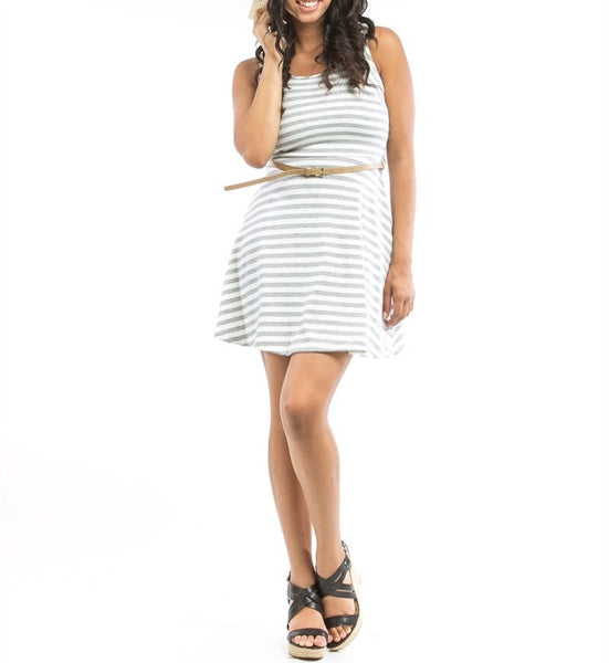 Fit and Flare Striped Dress with Belt in Gray & White
