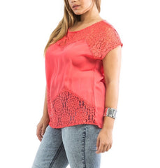 Plus Size Lace Short Sleeve Top in Coral