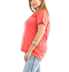 Plus Size Lace Shoulder Short Sleeve Knit Top in Orange