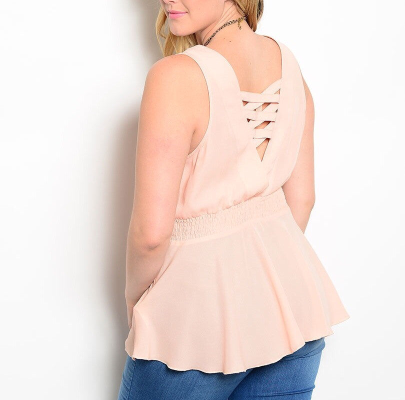Plus Size Cinched Waist Light Chiffon Top in Pink