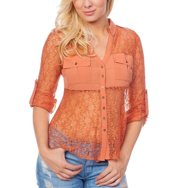 Sheer Lace Button Down Top in Light Rust