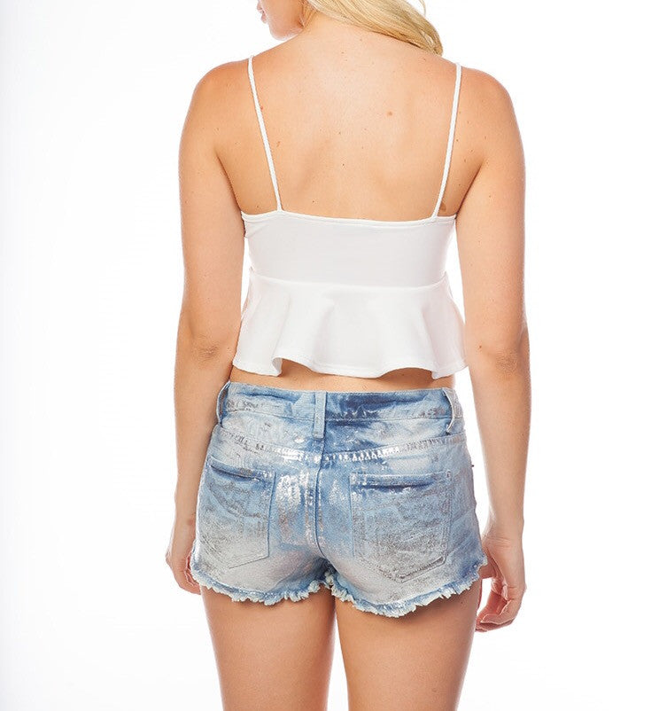 Fit and Flare Crop Top in White