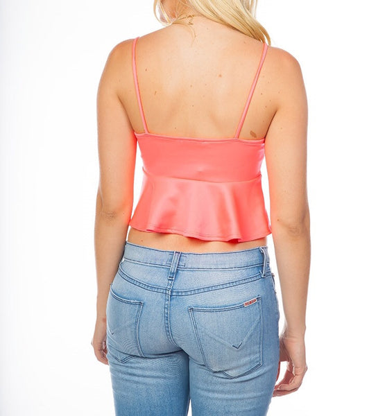 Fit and Flare Crop Top in Pink