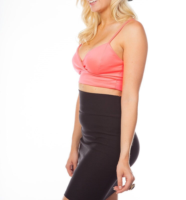 V-Neck Spaghetti Strap Crop Top / Bralette in Neon Pink