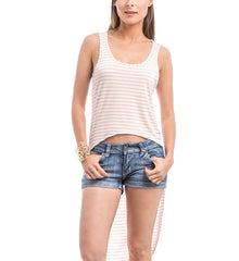 Striped Hi Low Tank Top in Orange & Off White