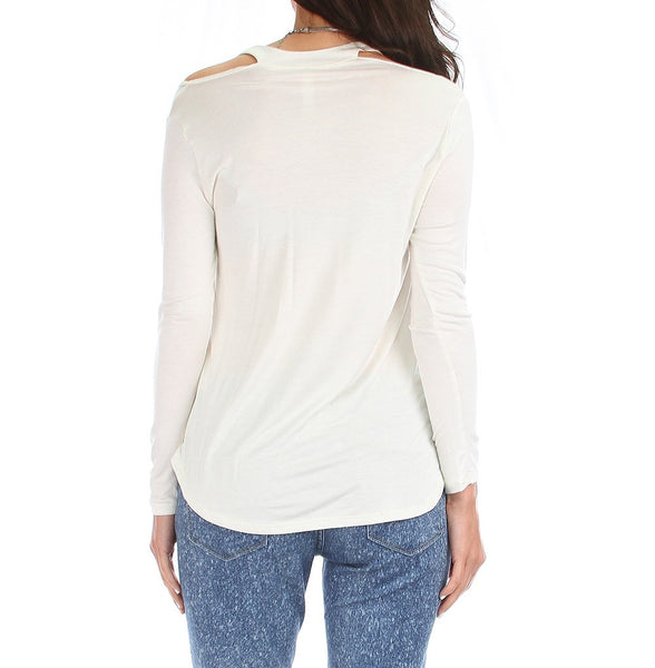 Open Shoulder Long SLeeve Light Tunic Top in Cream