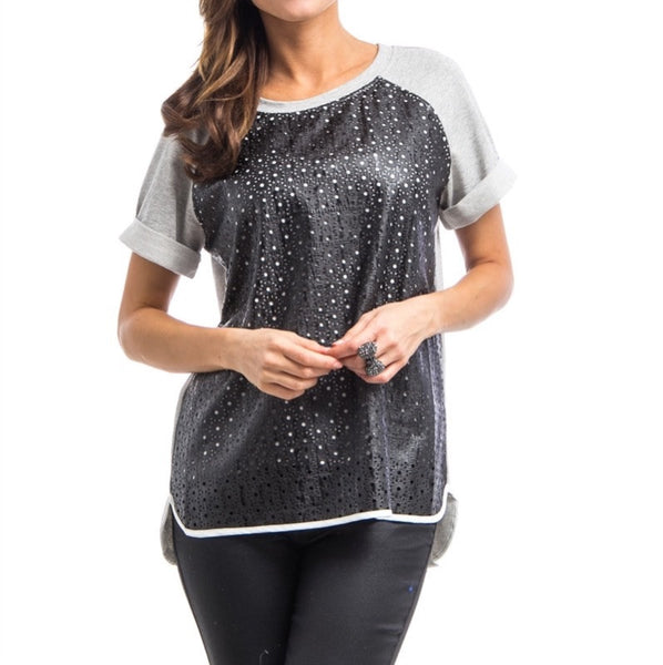 Faux Leather Dye Cut Jersey Top in Black & Gray