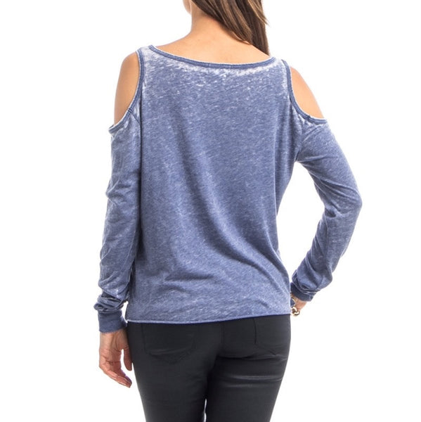 Star Spangled Cut Out Shoulder Long Sleeve Top in Blue