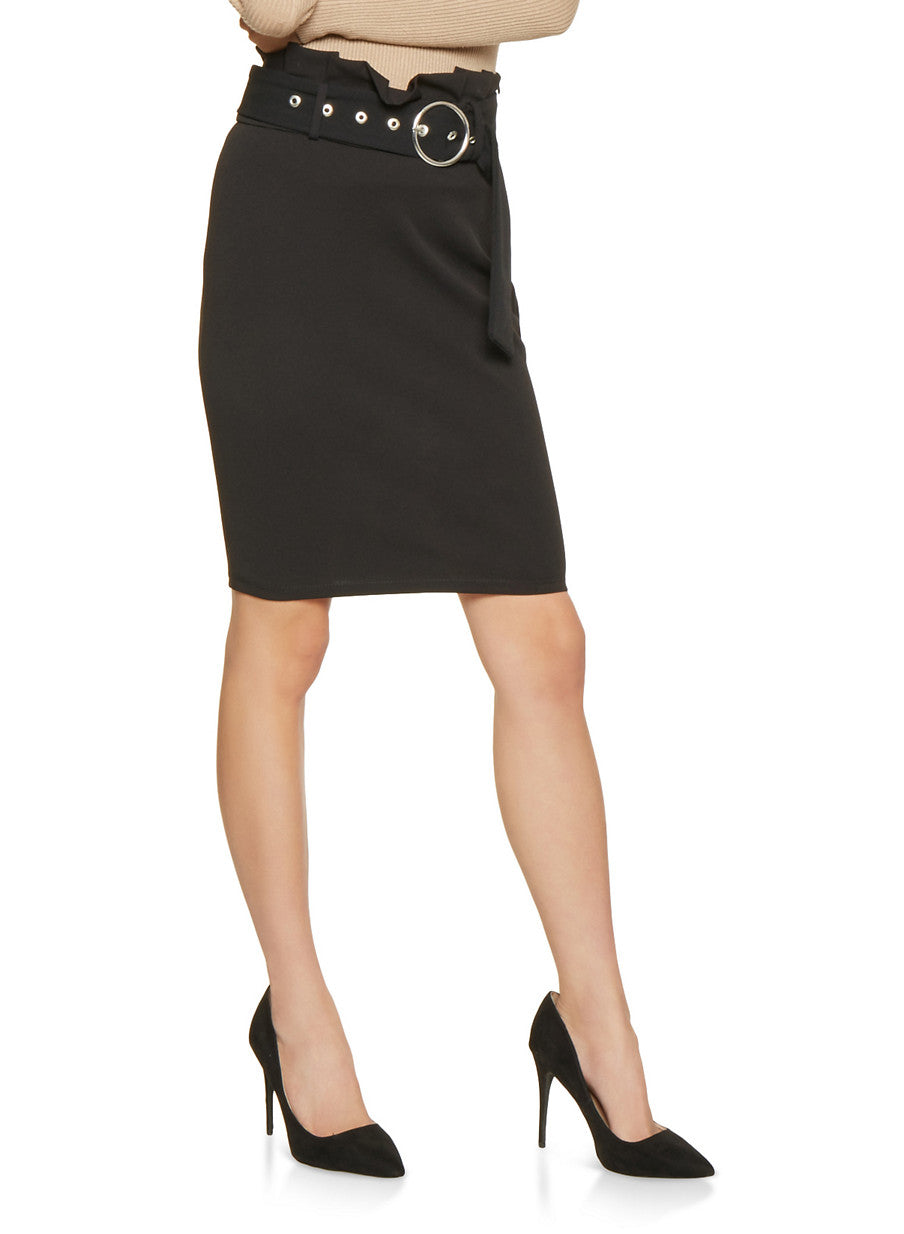 High Waist Belted Paperbag Midi Skirt in Black