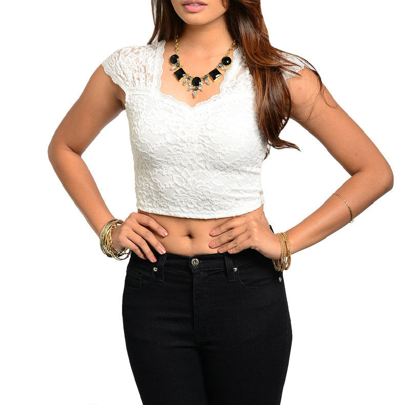 Lace Cap Sleeve Light Top in Ivory