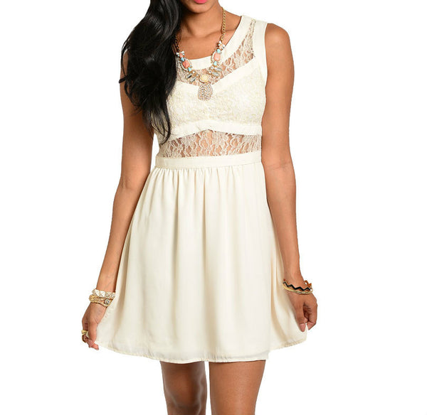 Sleeveless Lace Flare Dress in Cream