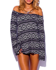 Tribal Print Off Shoulder Long Sleeve Loose Tunic Top in Black & Beige