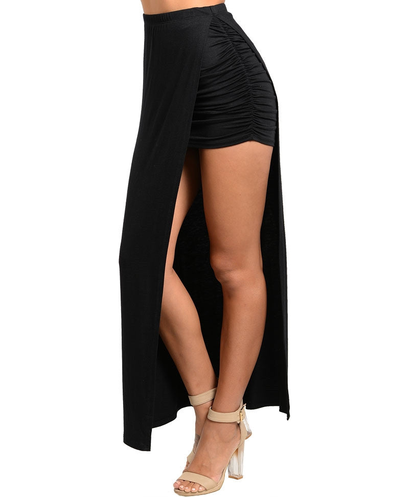 Maxi and Mini Skirt in One in Black