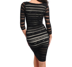 Net Striped Midi Dress in Black PETITE