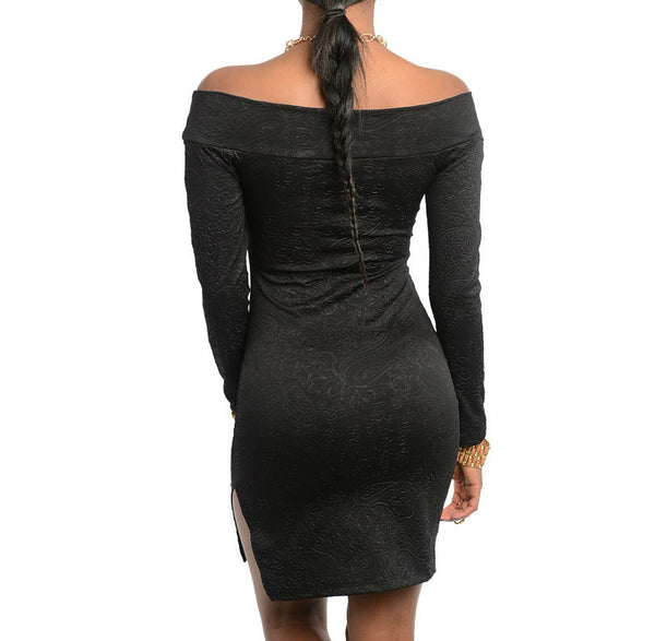 Off Shoulder Long Sleeve Dress with Slit in Black
