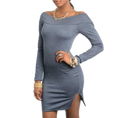 Off Shoulder Long Sleeve Dress with Slit in Gray