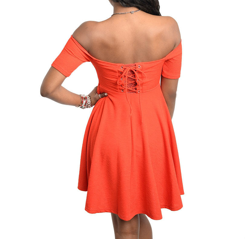 Off Shoulder Skater Dress in Red
