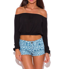 Long Sleeve Off Shoulder Crop Top in Black